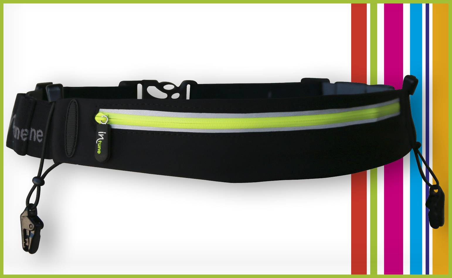 INTUNE SB1 (Stretch Pocket + 4 gels + race Number)-(BLACK / LIME)